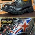 Glany 3 dziurki przecierane na flagę Wielkiej Brytanii