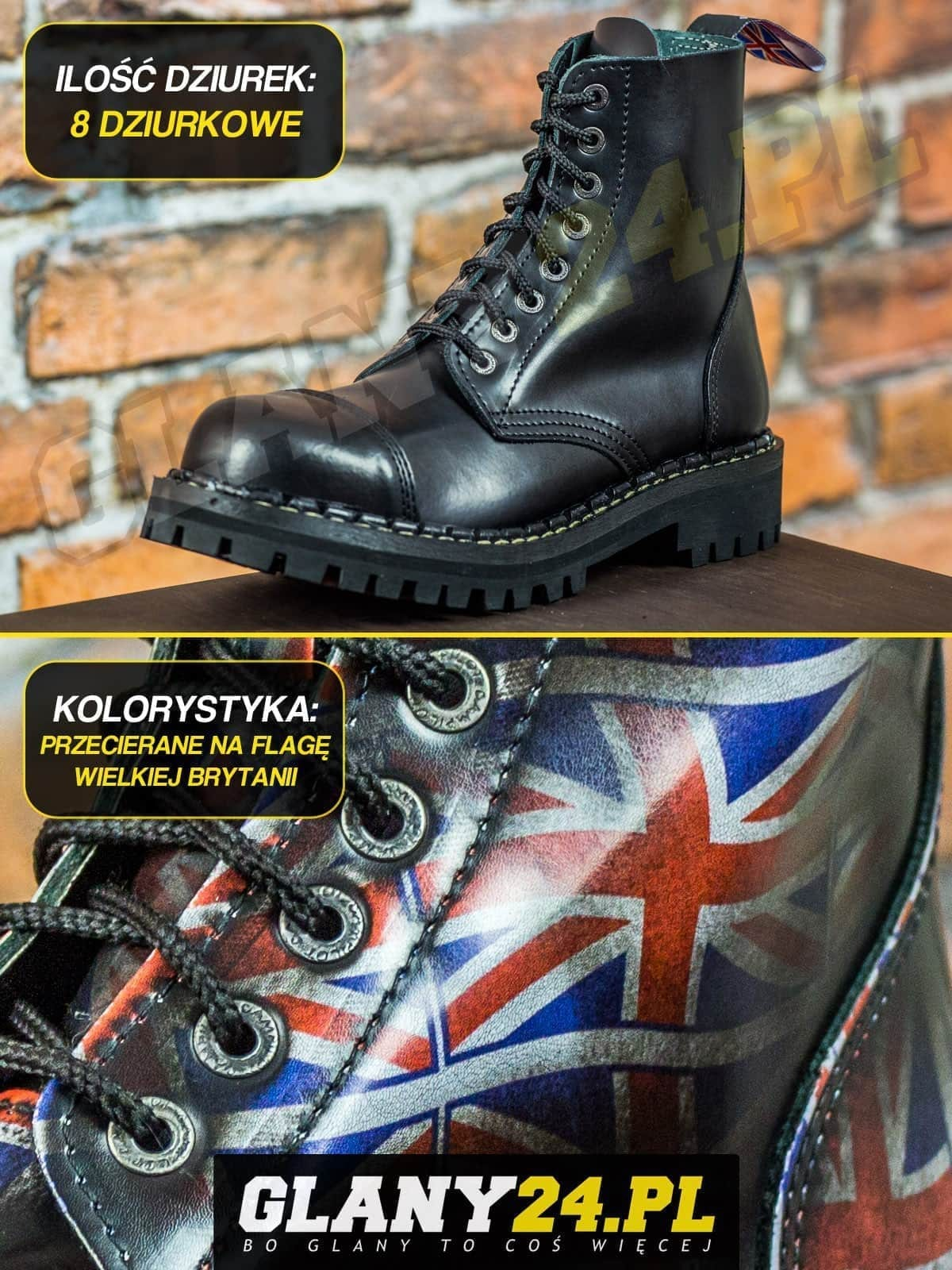 Glany 8 dziurek przecierane na flagę Wielkiej Brytanii